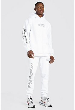 White Oversized Man Barcode Print Tracksuit