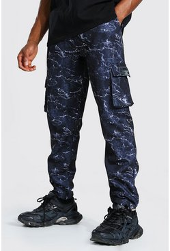 Black Official Printed Slim Cargo Joggers