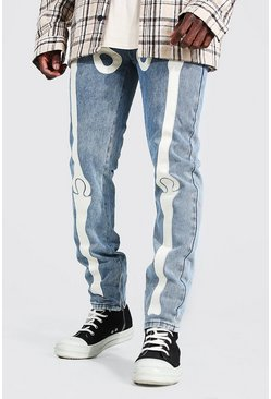 Ice blue Skinny Rigid Skeleton Applique Jean