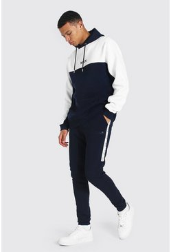 Navy Tall Man Colour Block Tracksuit With Tape