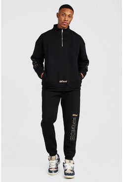 Black Homme Oversized Funnel Neck Tracksuit