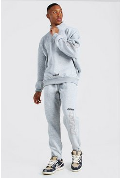 Grey marl Homme Oversized Funnel Neck Tracksuit
