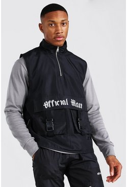 Black Official Man Funnel Neck Utility Vest