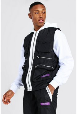 Black Contrast Hood Utility Vest With Man Tab