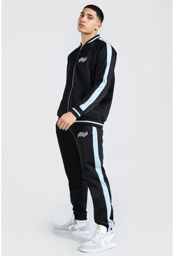 Black Official Man Panel Tricot Bomber Tracksuit