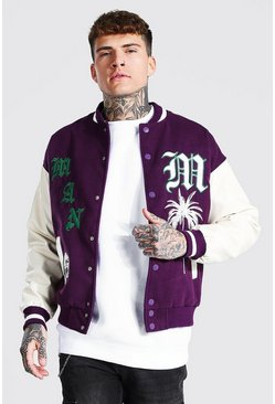 Purple Knitted Collar Varisty Bomber