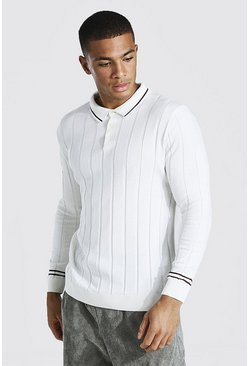 Cream Muscle Fit Long Sleeve Contrast Stripe Ribbed Polo