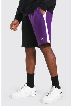 Purple Man Colour Block Mid Length Loose Shorts