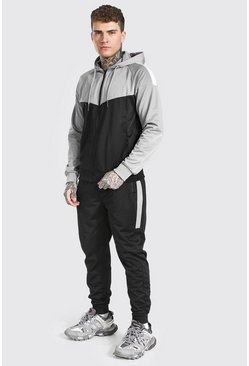 Black Poly Colour Block Zip Hooded Tracksuit