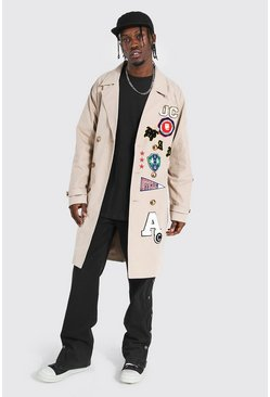 Stone All Over Varsity Badge Trench Coat