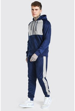 Colour Block Poly Zip Hooded Tracksuit, Navy