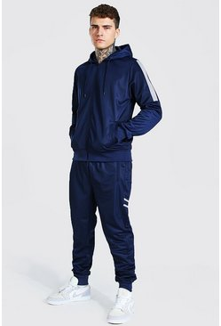 Poly Zip Hooded Contrast Detail Tracksuit, Navy