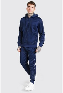 Poly Zip Hooded Tracksuit With Piping, Navy