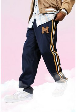 Navy Official Side Stripe Loose Tricot Joggers