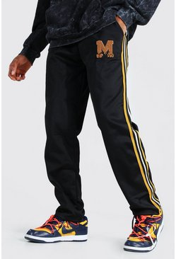 Black Official Side Stripe Loose Tricot Joggers