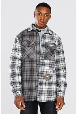 Charcoal Varsity Badge Flannel Overshirt