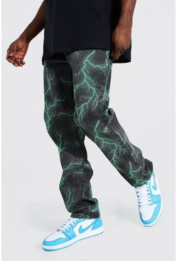 Green Relaxed Fit Lightning Printed Jean