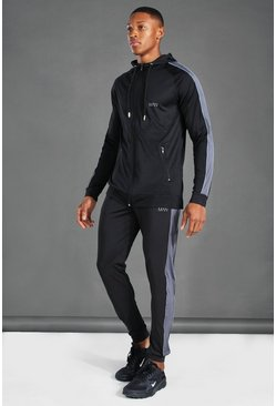 Black Man Poly Skinny Zip Through Hooded Tracksuit