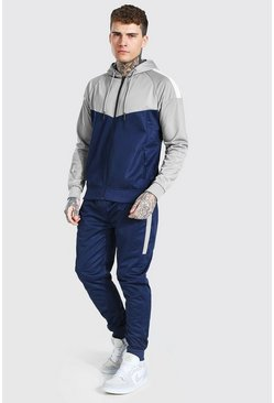 Poly Colour Block Zip Hooded Tracksuit, Navy