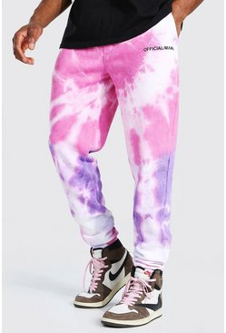 Man Official Jogginghose in Batik-Optik, Slim, Rosa