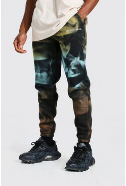 Man Official Jogginghose in Batik-Optik, Slim, Schwarz