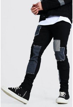 True black Skinny Stretch Patchwork Cargo Jean