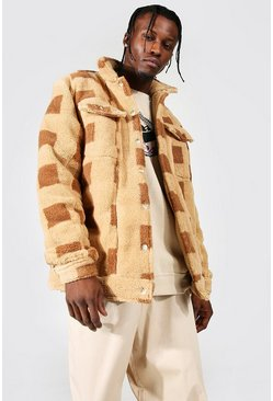 Brown Printed Check Borg Overshirt