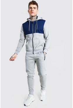Reflective Zip Colour Block Hooded Tracksuit, Grey marl