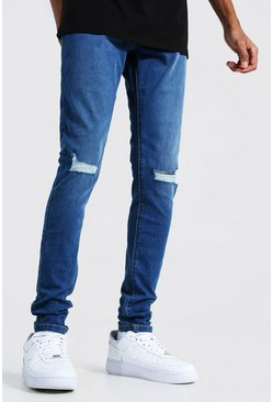Mid blue Tall Skinny Jeans With Ripped Knees
