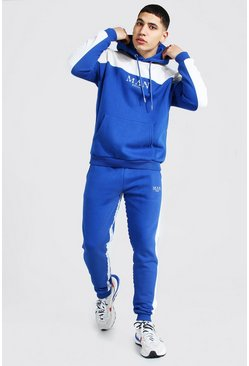 Navy Man Roman Tape Colour Block Tracksuit