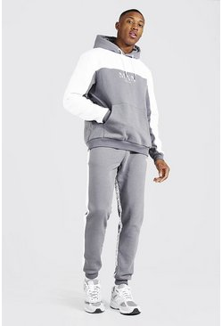White Man Roman Tape Colour Block Tracksuit
