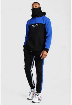 Black Man Roman Tape Colour Block Snood Tracksuit