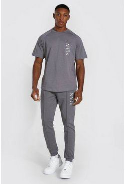 Charcoal Man Roman Smart T-shirt Tracksuit