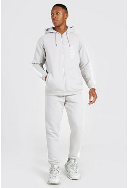 Stone Man Roman Side Panel Zip Hooded Tracksuit