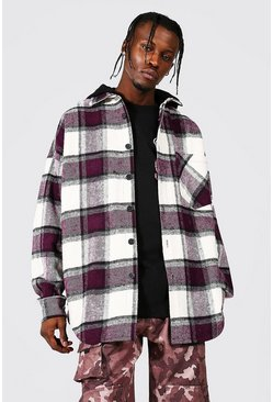Purple Oversized MAN Heavyweight Check Hooded Overshirt