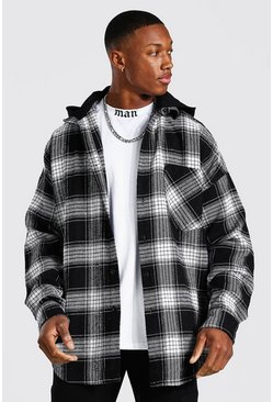 Black Oversized Man Heavyweight Check Hooded Overshirt