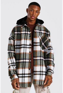 Oversized Heavyweight Check Hooded Overshirt, Brown