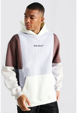 Sweat à capuche oversize color block - MAN Official, Grey marl