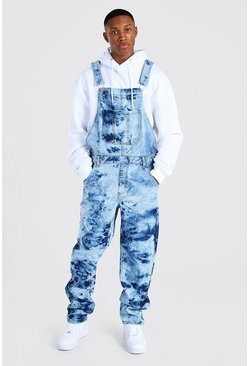 Light blue Loose Fit Cow Bleach Long Dungaree
