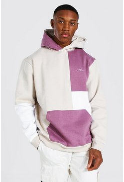 Taupe Man Signature Colour Block Hoodie