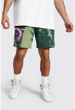 Green Official Man Graffiti Tie Dye Loose Shorts