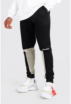 Black Man Skinny Colour Block Joggers