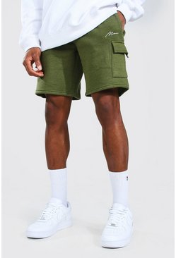 Khaki Man Signature Mid Length Cargo Jersey Shorts
