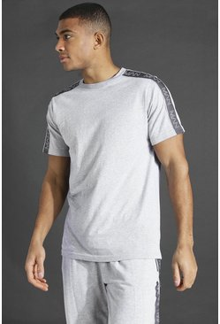 Grey marl Man Active T-shirt With Tape Detail