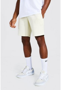 Ecru Basic Mid Length Regular Jersey Shorts