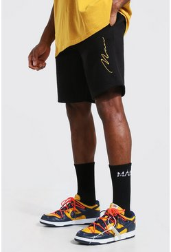 Black Man Signature Embroidered Regular Jersey Shorts