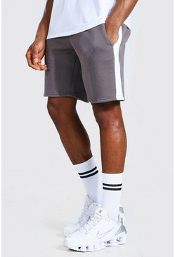 Charcoal Basic Mid Length Side Panel Shorts