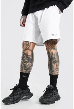 White Man Signature Mid Length Loose Jersey Shorts