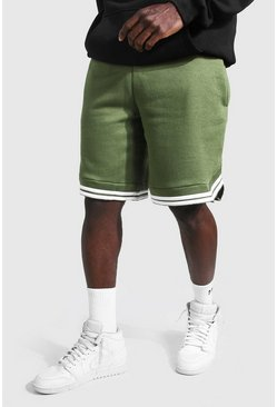 Khaki Basic Basketball Jersey Shorts With Tape