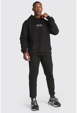 Black Original Man Print Hooded Tracksuit